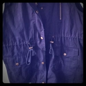 Navy Drawstring-Waist Pocket Military Vest
